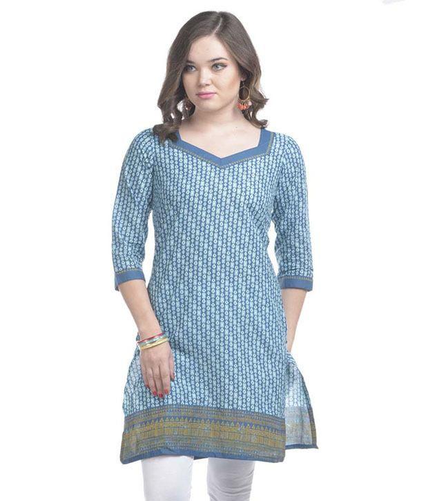 Sritika Blue Colour Printed Kurti
