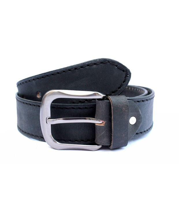 Tops Men Black Leather Belt