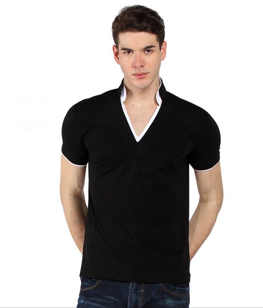 Uomo Carlo V- Neck Black T-Shirt