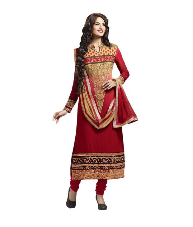 Colors Fashion Maroon Faux Georgette Latest Designer Semi-Stitched Dress Material Dress