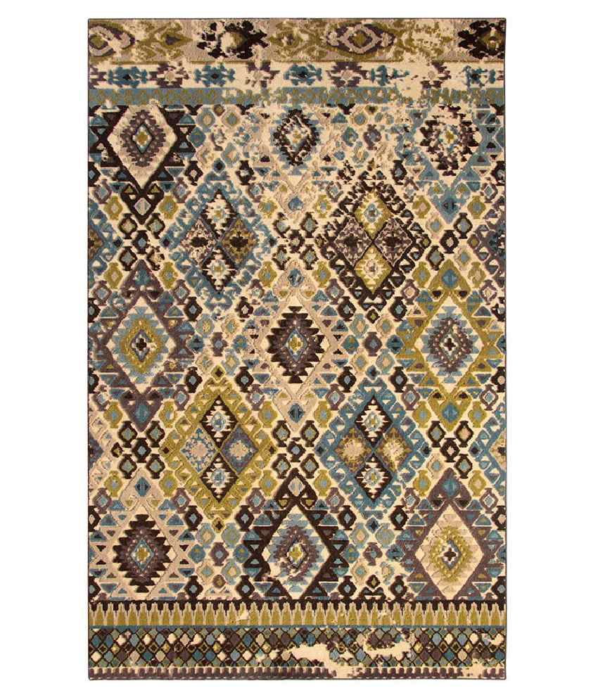 Riva Carpets Blue and Brown Abstract Rug