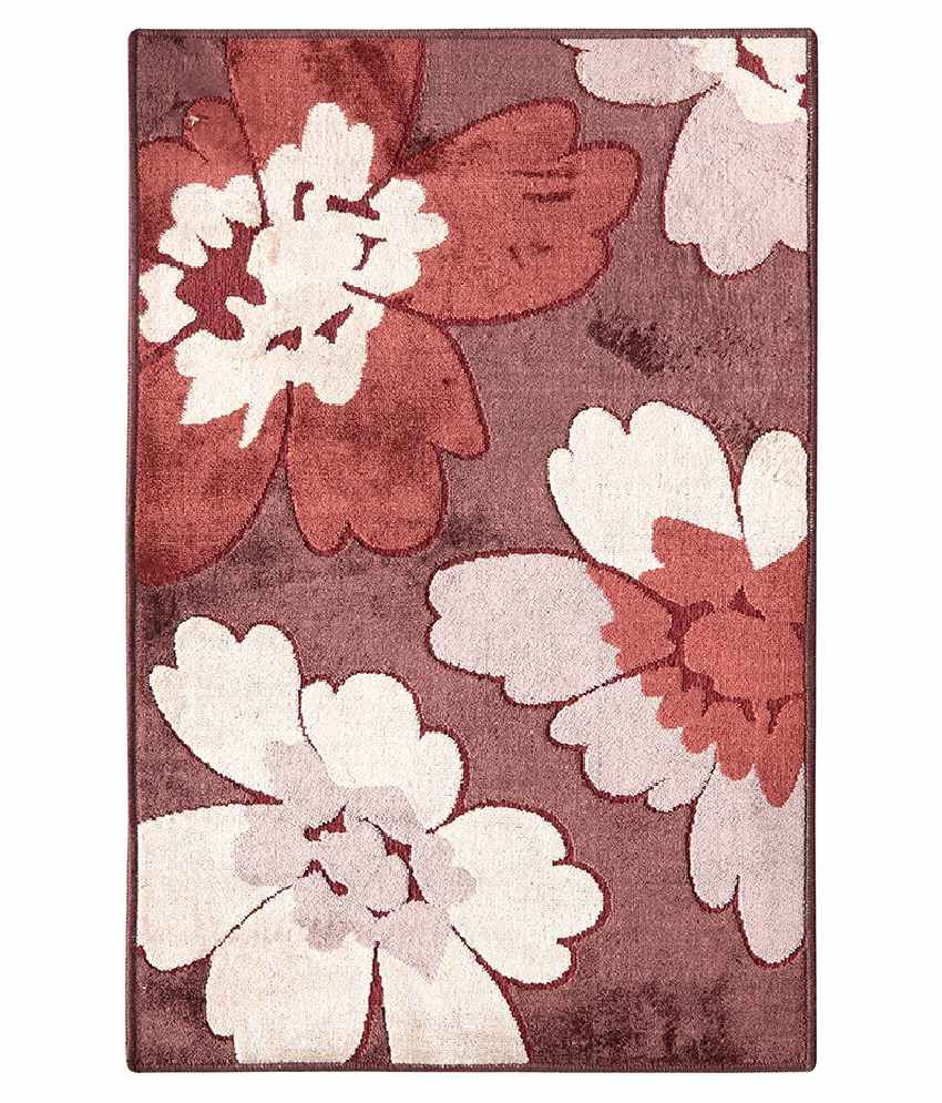Riva Carpets White and Brown Floral Rug