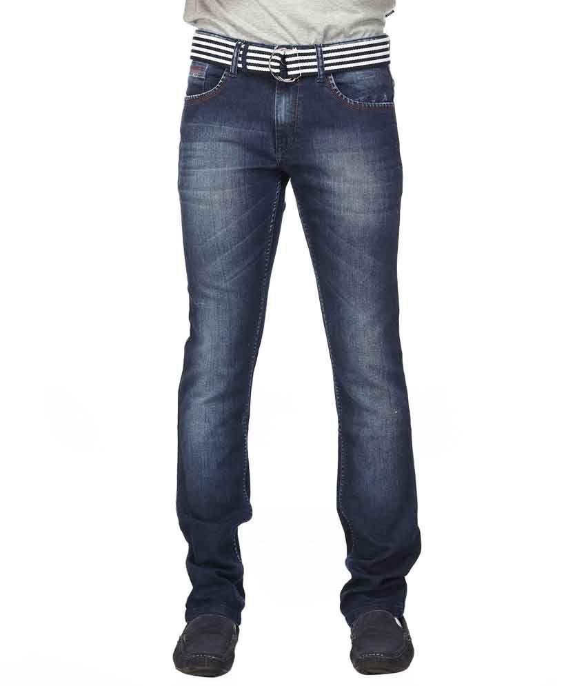 Streetguys Blue Cotton Blend Slim Men's Jeans