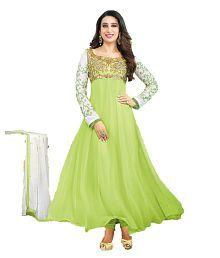 Suits Sarees & Lehenga Green Georgette Anarkali Semi-Stitched Suit
