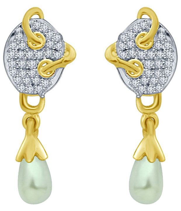 Eldora Attractive 18kt Gold Plated American Diamond Drop Earrings