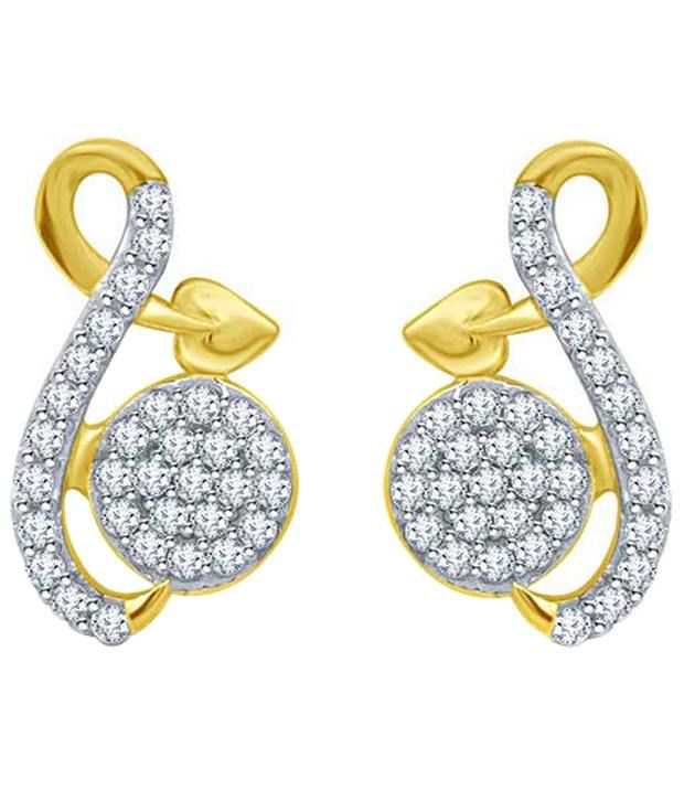 Eldora Gorgeous 18kt Gold Plated American Diamond Stud Earrings