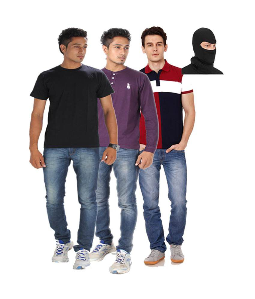 Posh 7 Purple And Maroon And Black Combo Of 3 T Shirt + 1 Mask Free