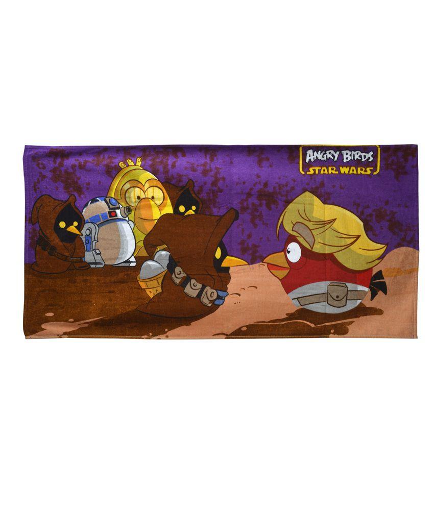 Sassoon Angry Birds Purple Cotton Bath Towel
