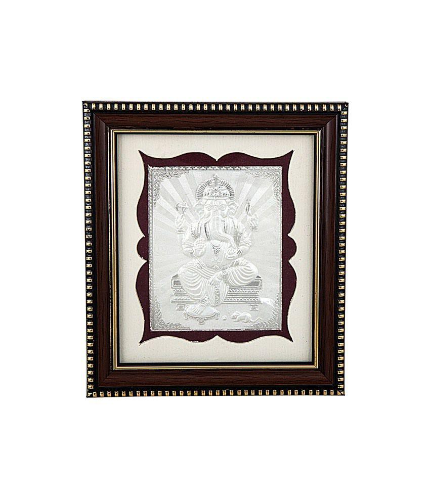 siri creations silver foil photo frame god ganapathi