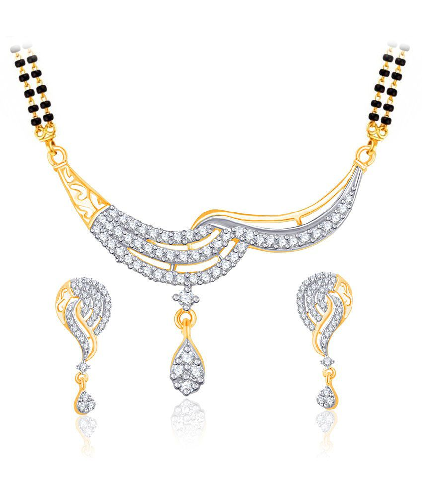 Vk Jewels Astonishing Gold And Rhodium Plated Mangalsutra Pendant Set With Earrings