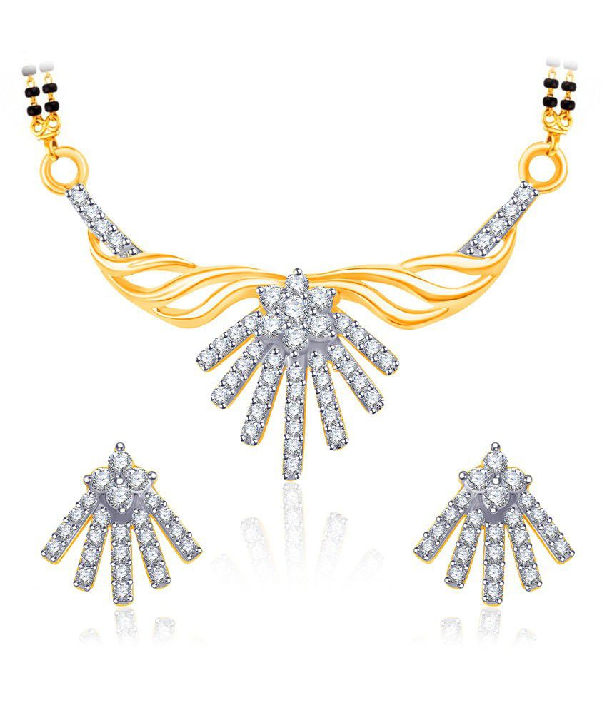 Vk Jewels Reverence Gold And Rhodium Plated Mangalsutra Pendant Set With Earrings