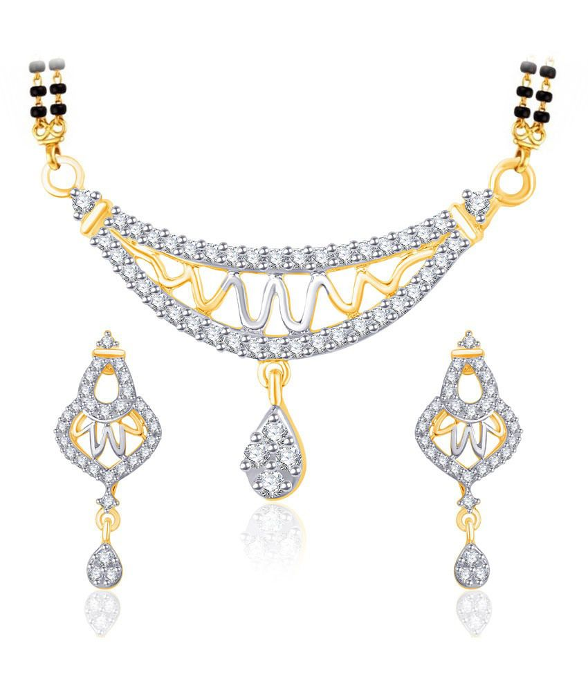 Vk Jewels Zig Zag Gold And Rhodium Plated Mangalsutra Pendant Set With Earrings