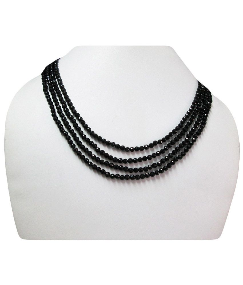 Anushruti Black Spinel Faceted Beads Necklace