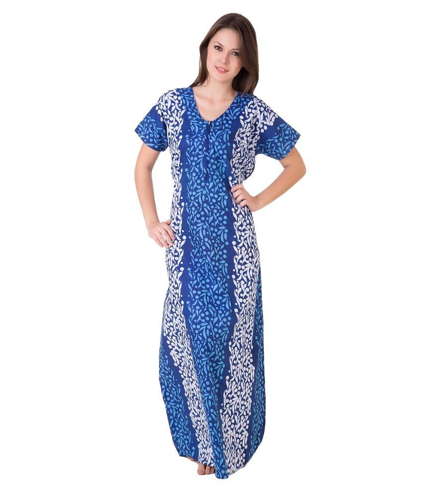Buy Masha Blue Cotton Nighty Online at Best Prices in ...