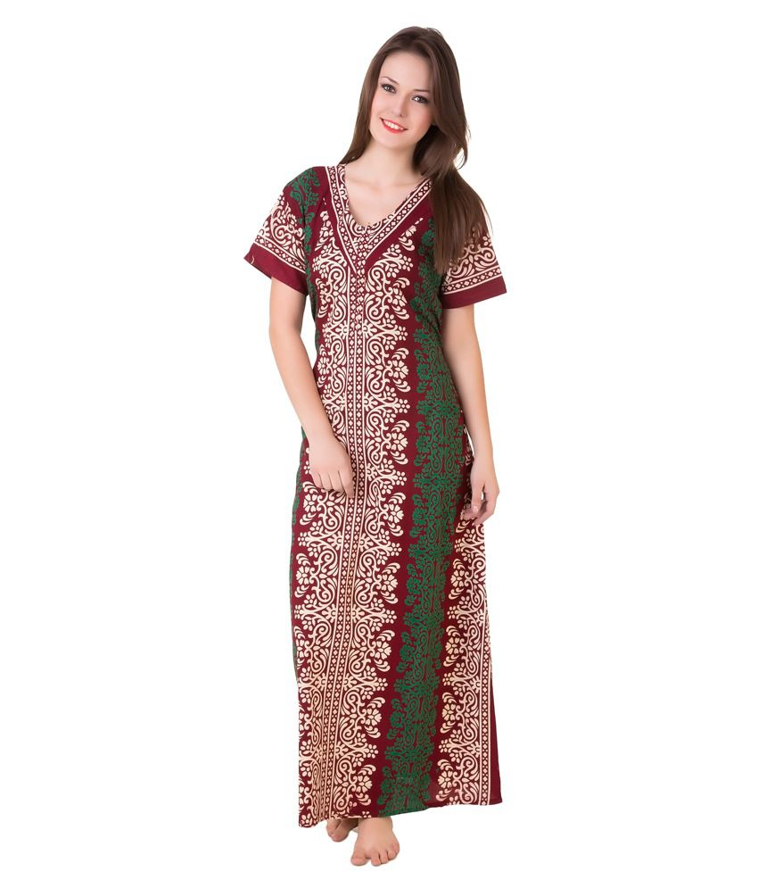 Ladies Gowns: Buy Masha Maroon Cotton Nighty Online At Best Prices In