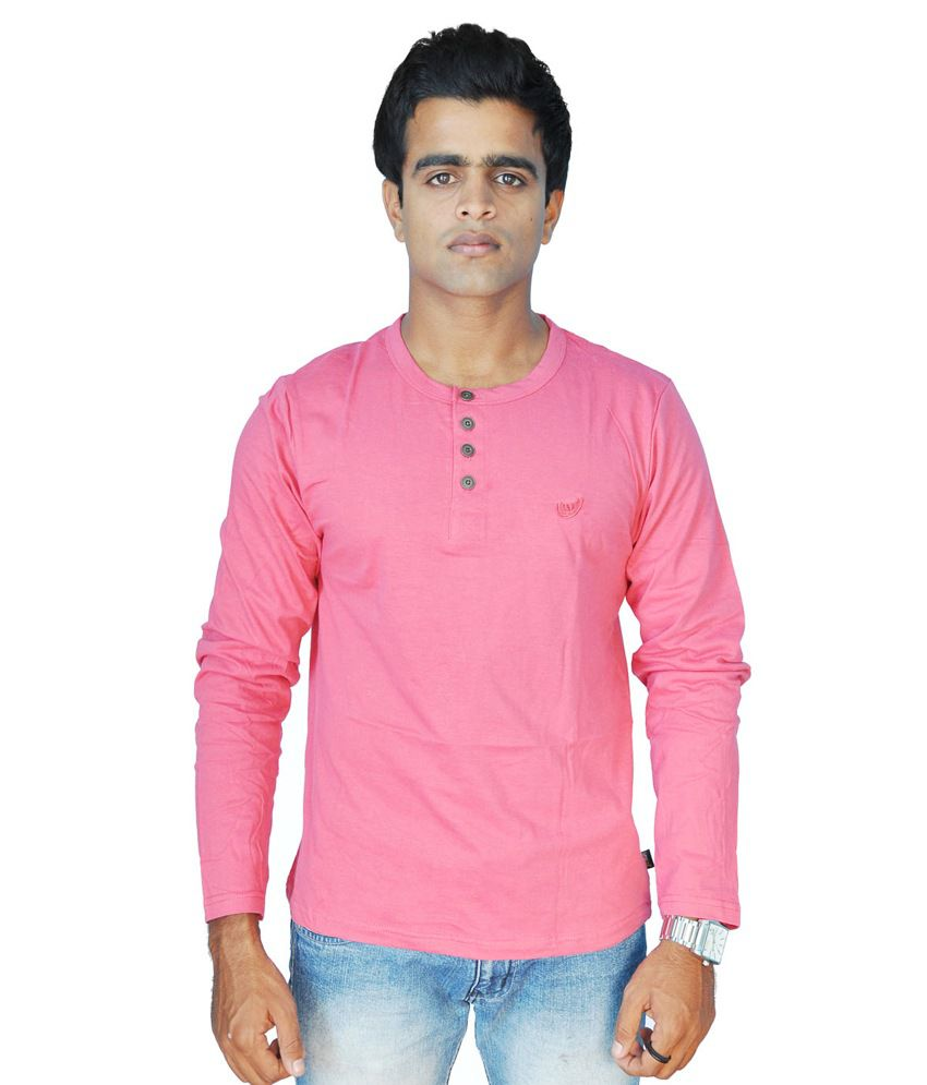 Limelite Pink Cotton Blend Full Sleeve Men T Shirt