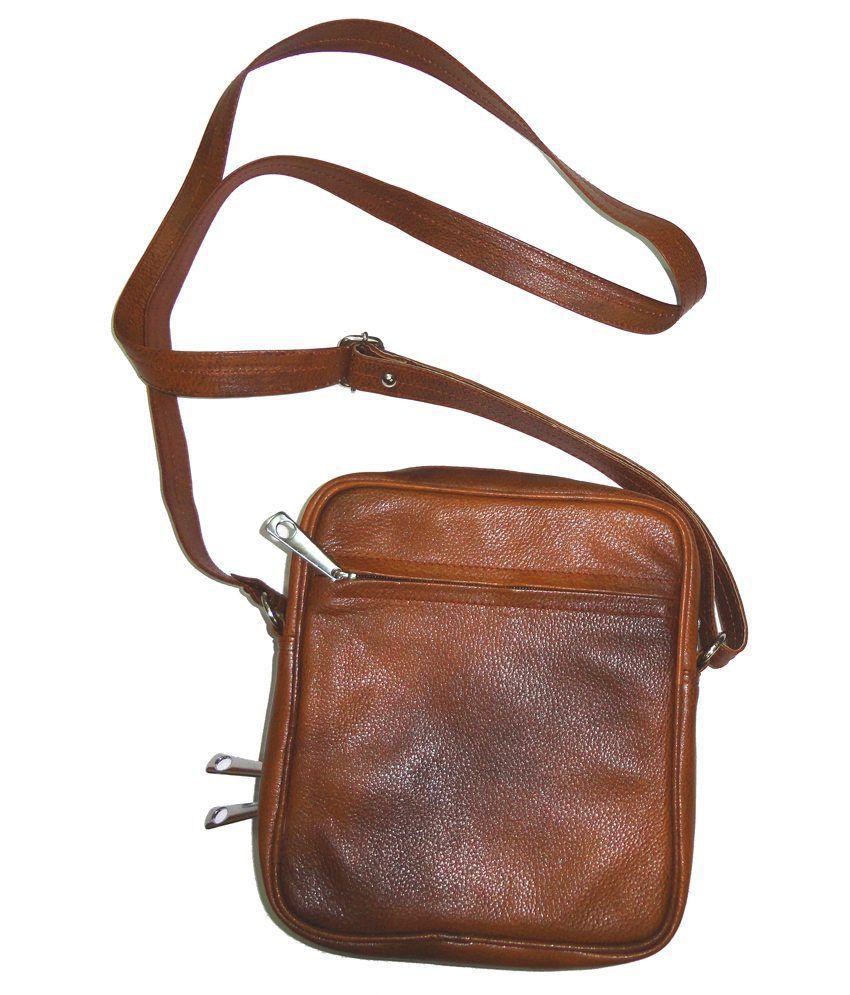 Starco Men's Genuine Tan Leather Messenger Sling Bag - Buy Starco ...