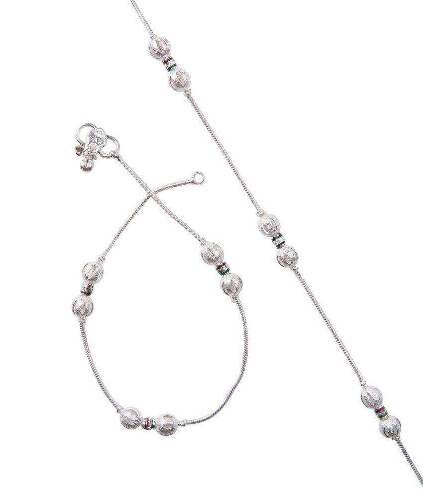 Taj Pearl Party Wear Silver Plated Anklets