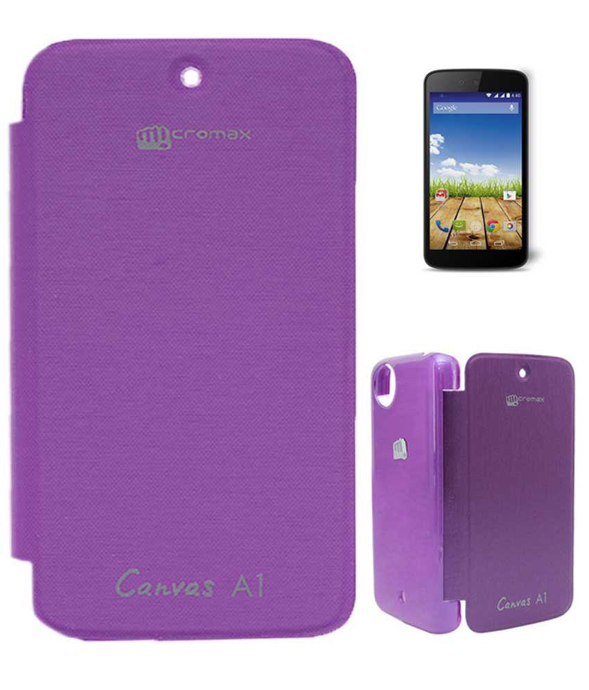 Tbz Premium Flip Cover Case Purple For Micromax Canvas A1