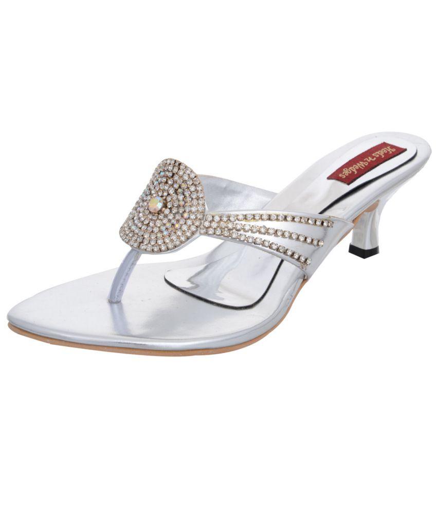 Heels N Wedges Silver Heeled Slip-on