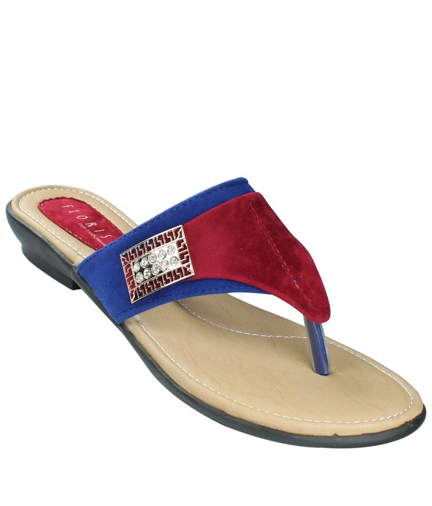 Leatehrworld Red V Strap Comfort Flat Sandal