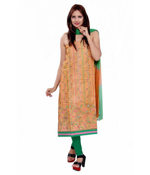 Porcupine Orange Cotton Embroidered Unstitched Regular Dress Material