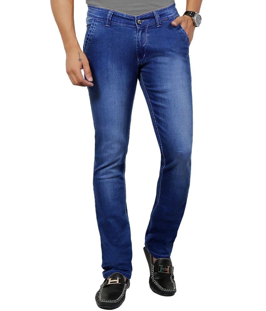 Dfu German Stone Blue 100% Cotton Lycra Denim Narrow Fit Jeans For Men | Dfudfutoby