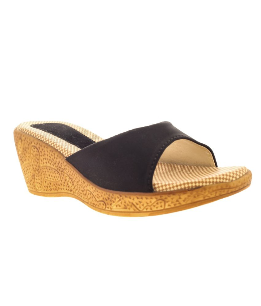Tatter Angel Black Wedges Heeled Slip-on