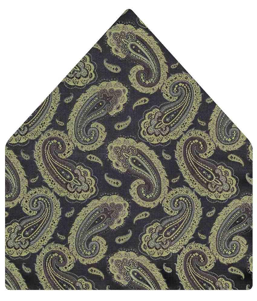 Tiekart Catchy Gray Paisley Pocket Square