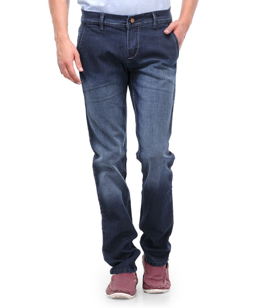 Kiosha Navy Cotton Blend Slim Fit Faded Jeans