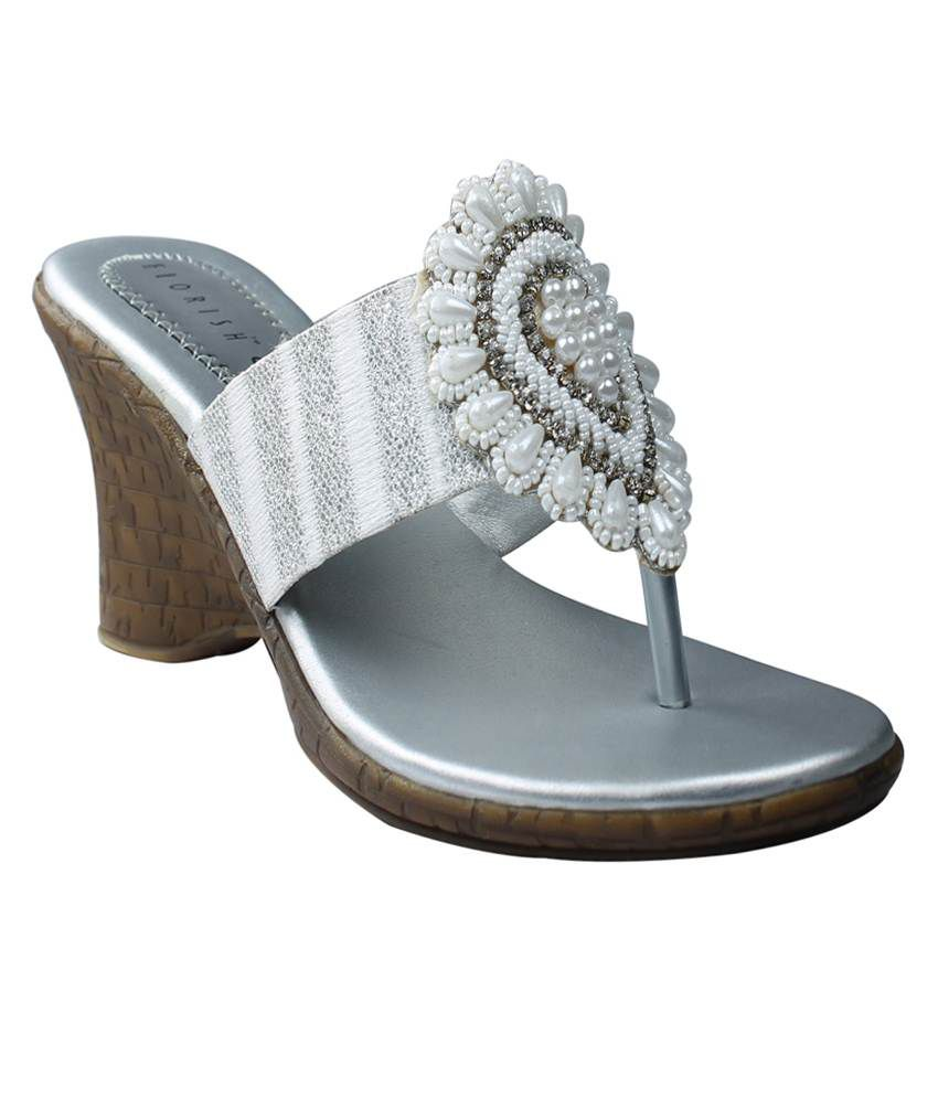 Leatherworld Silver Sequence V Strap Partywear Women Sandal