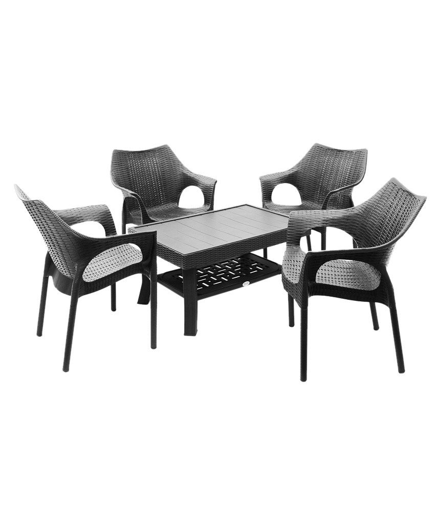 garden table and chair sets india. supreme outdoor set (4+1)- black garden table and chair sets india i