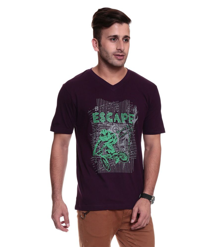 TSG Escape Men'S V Neck Purple Printed T-Shirt