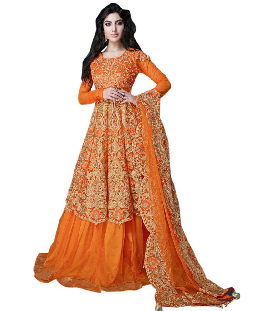 Colors Fashion Orange Net Party Wear Ethnic Gown - Buy Colors ...