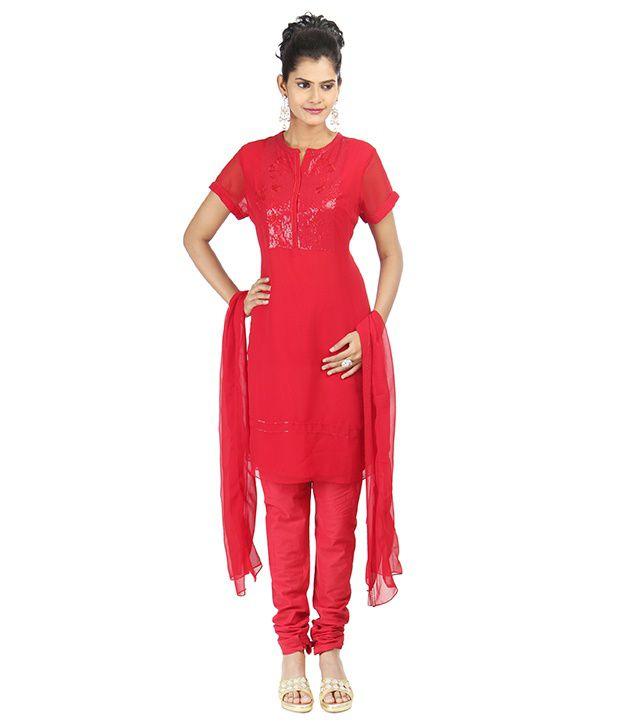 Karmik Red Georgette Churidar Set
