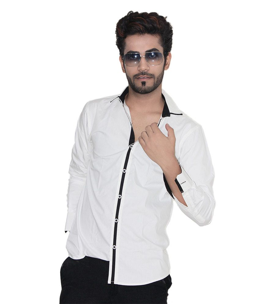 Kings Republic Solid white with black piping casual Shirt