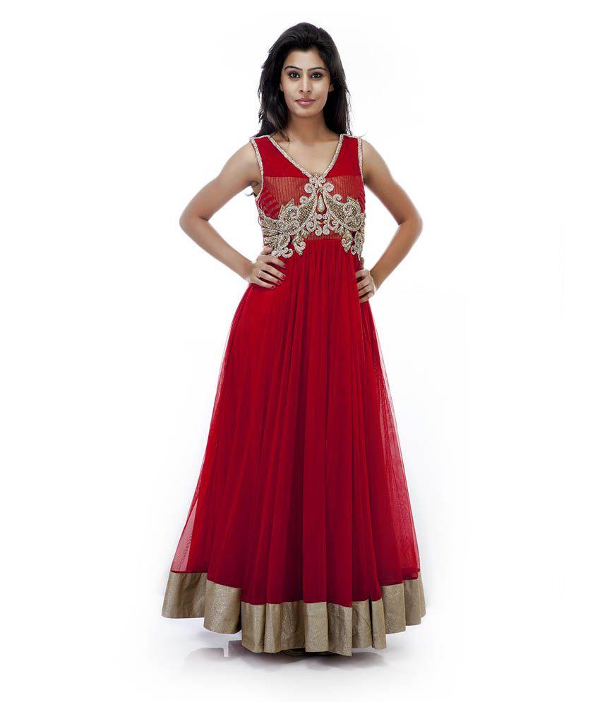 Maurvi Presents Red Color Anarkali Suit