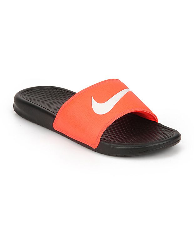 huge selection of 4288e 46f3e Nike Benassi Swoosh Orange Black Slippers