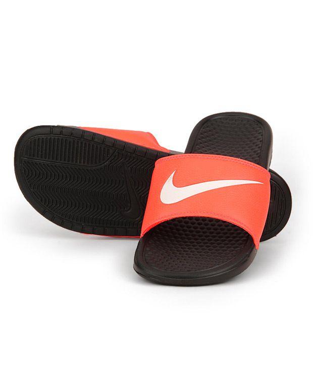 Nike Benassi Swoosh Orange Black Slippers Nike Benassi Swoosh Orange Black  Slippers ...