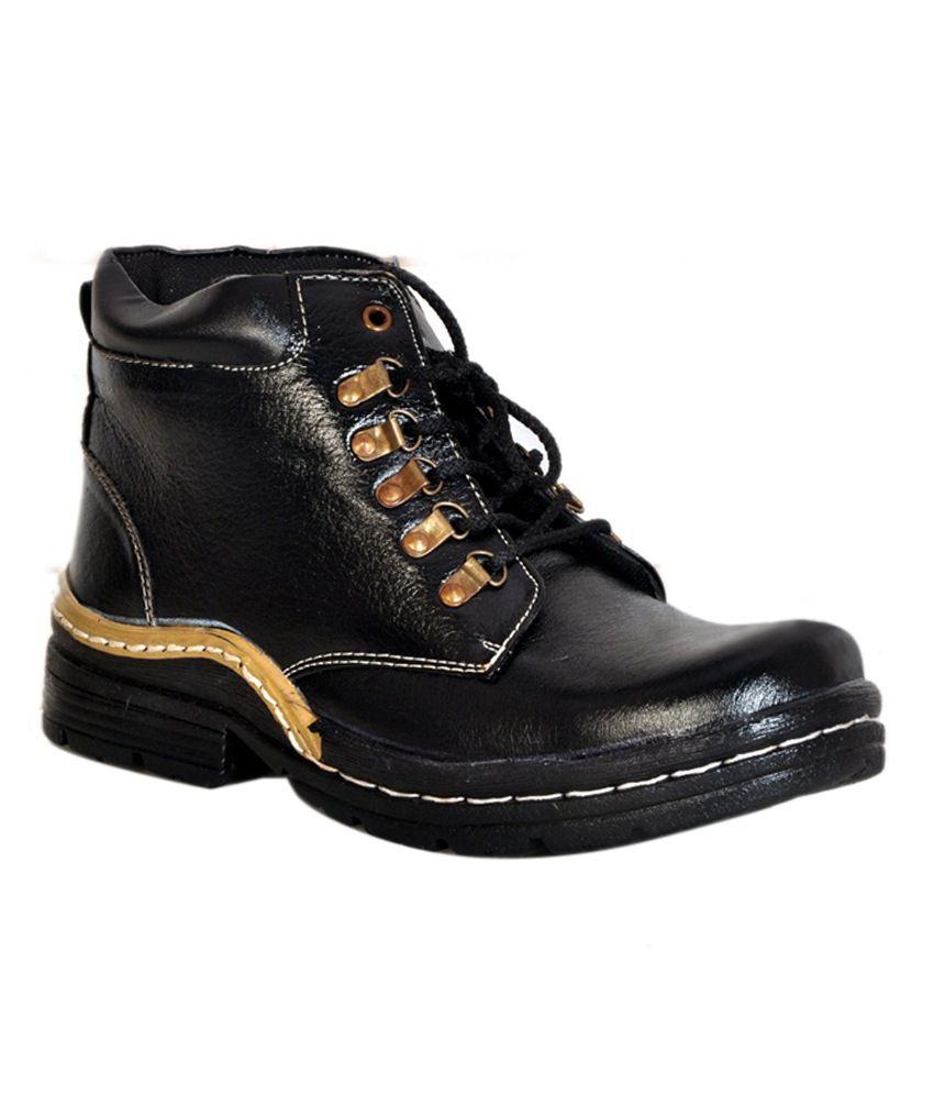 Shoe Mate Black Leather Designer Boots
