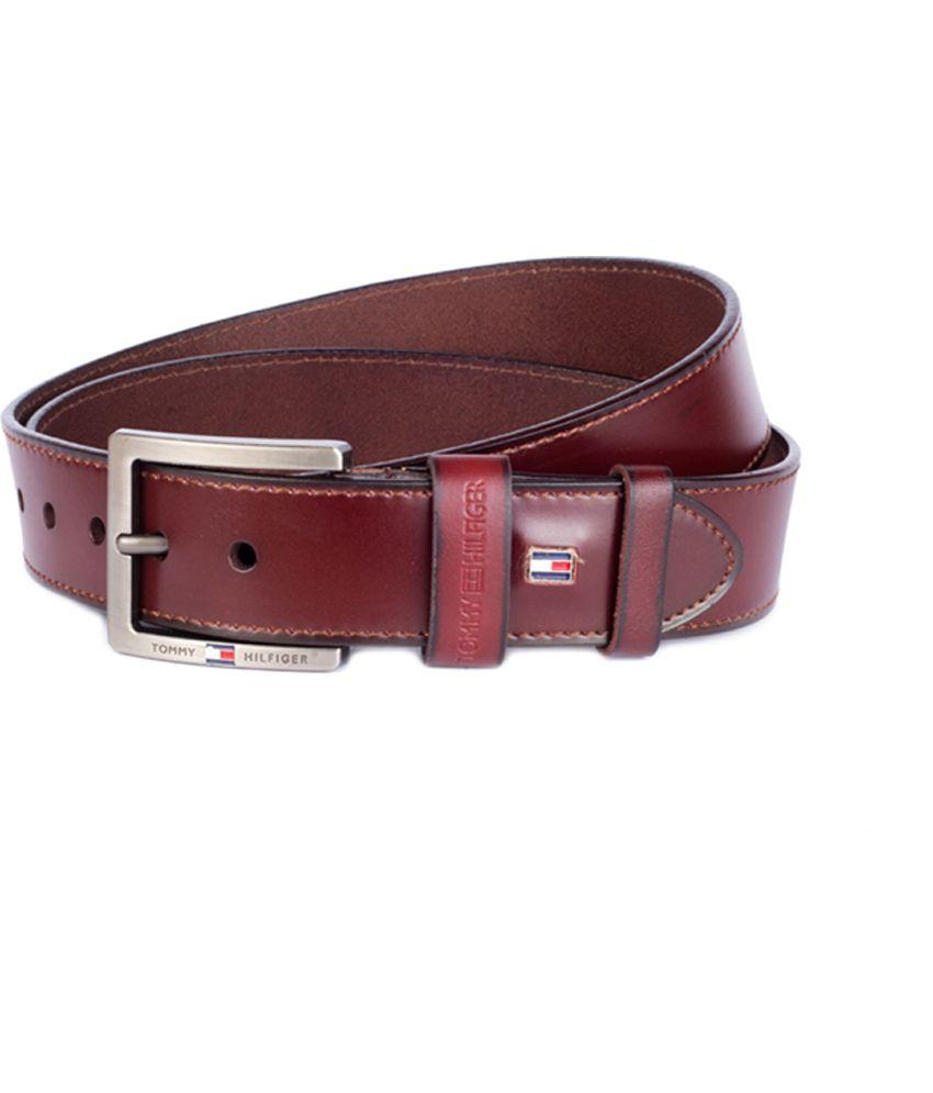 Tommy Hilfiger Brown Leather Pin Buckle Men's Belt