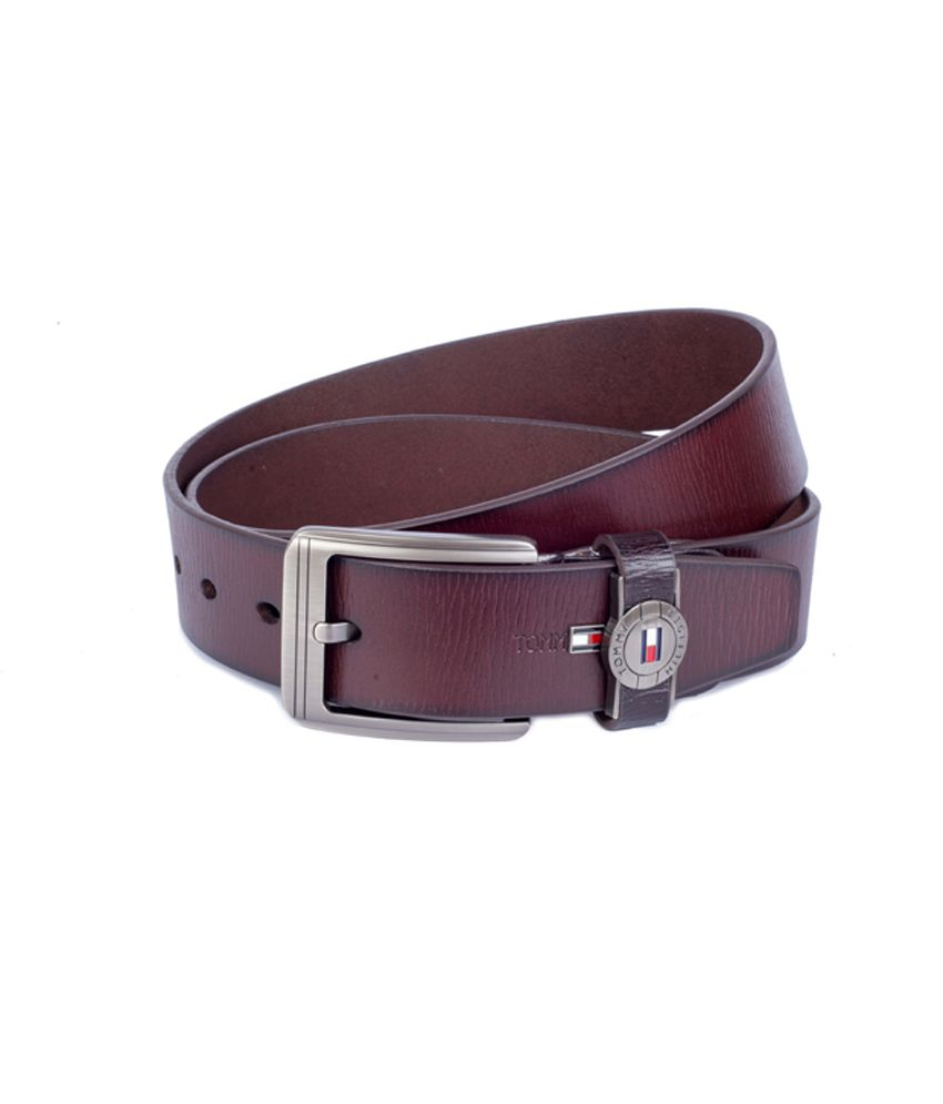 Tommy Hilfiger Brown Leather Pin Buckle Men's Belt