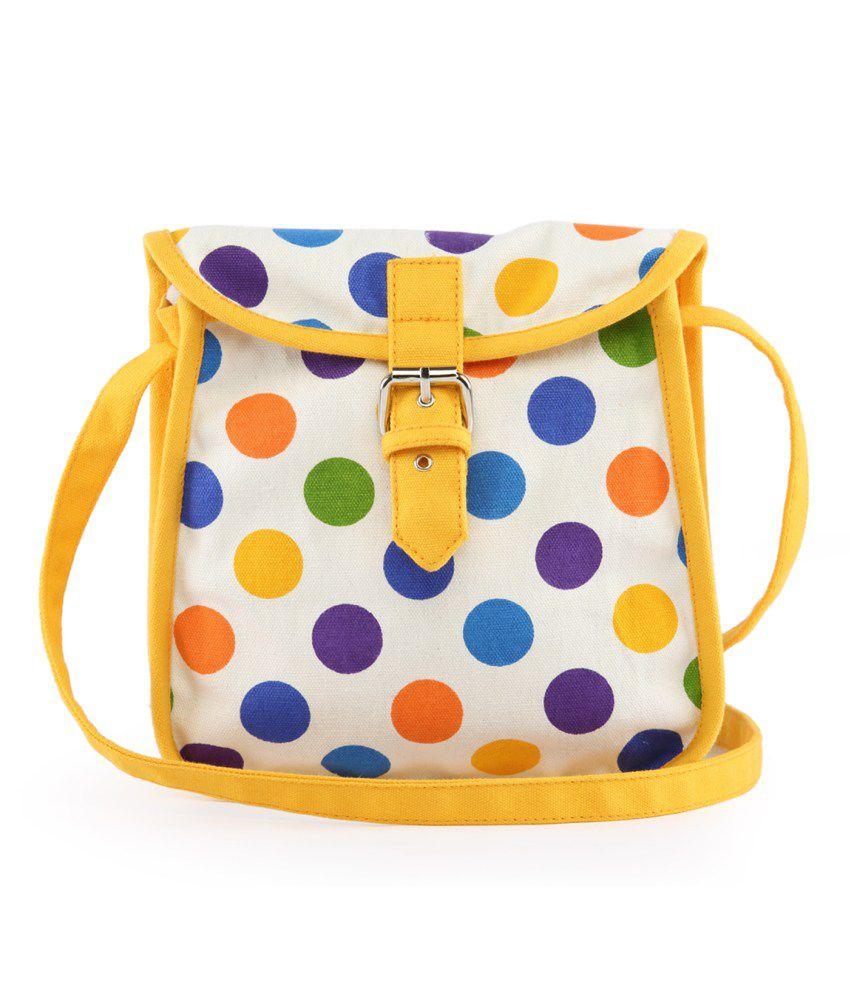 Vivinkaa Yellow Canvas Sling Bag