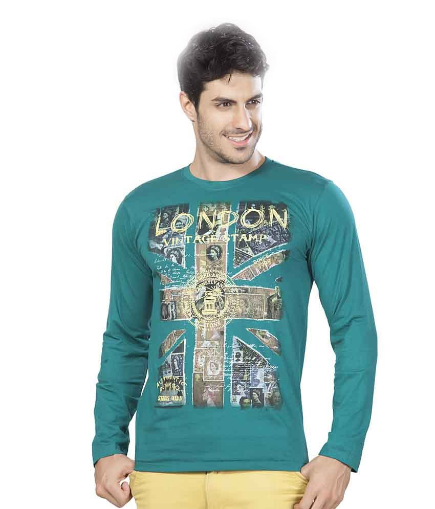 Ajc Green Printed Cotton Full Sleeves Men T Shirt