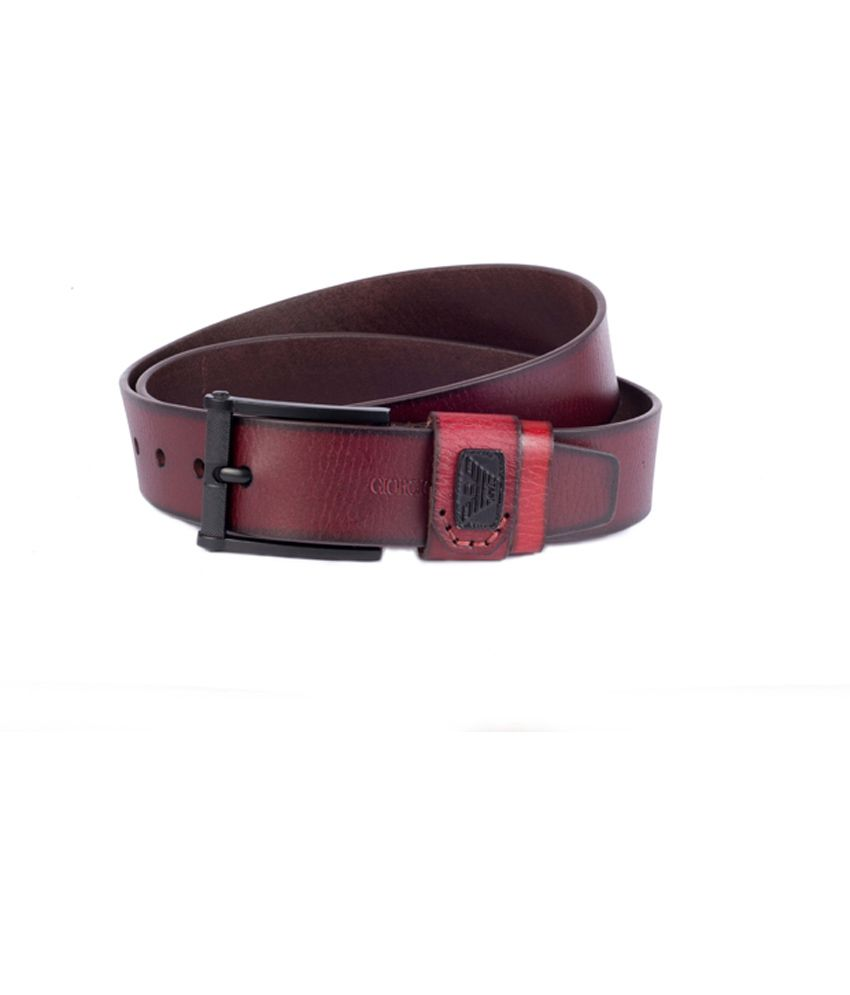 Giorgio Armani Brown Leather Pin Buckle Men's Belt