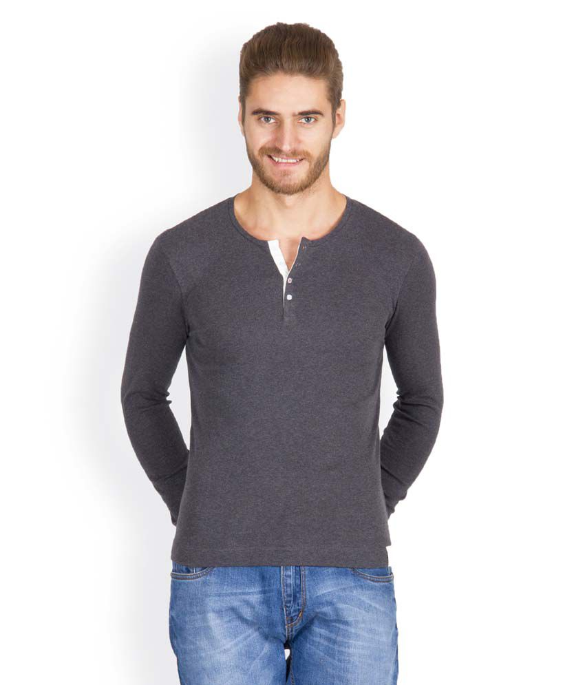Hues 5001 N Stylish Gray Men T Shirt