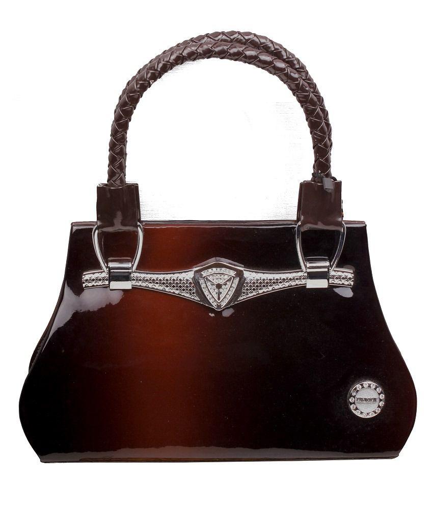 Qnq Dark Brown Shaded Branded Handbag For Ladies