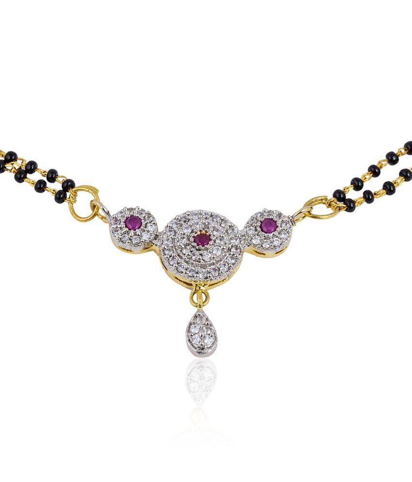 Tiara Gems Red Circular American Diamond Mangalsutra & Earrings