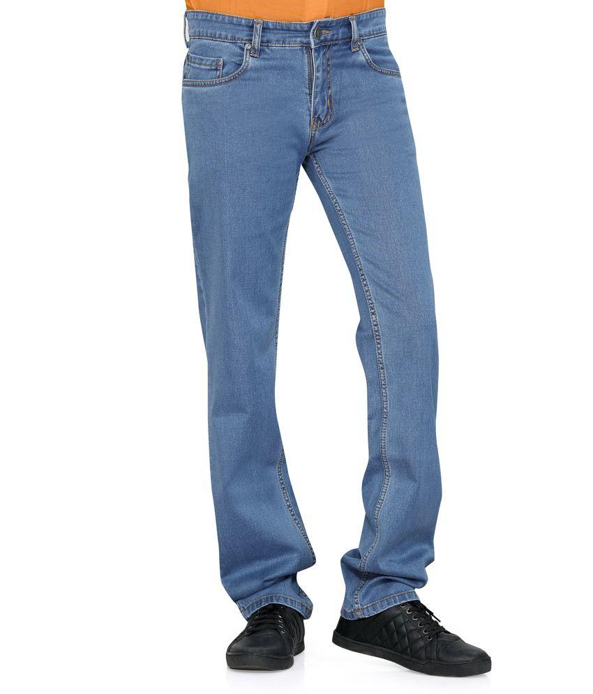 Flags Medium Blue coloured smart slim fit Jeans,Stretch Chino Denim