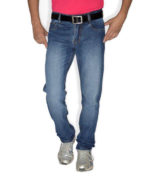 Focker Basic Blue 100% Cotton Fabric Slim Fit Five Pocket Jeans